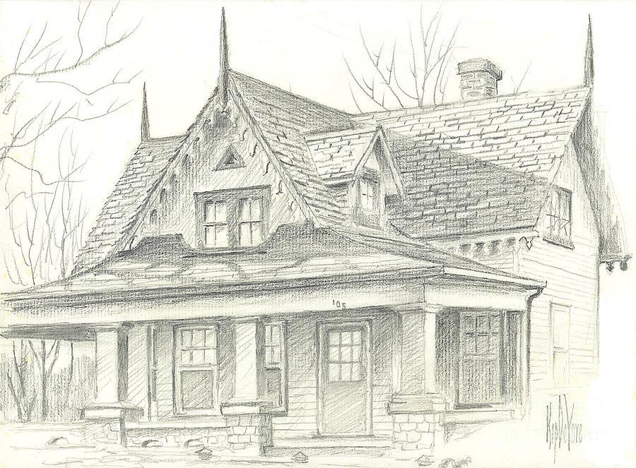 American Home Drawing - American Home by Kip DeVore