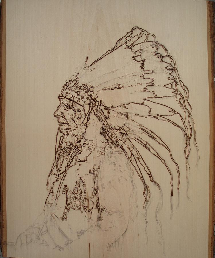 Pyrography Pyrography - American Horse - Oglala Sioux Chief - 1880 by Sean Connolly