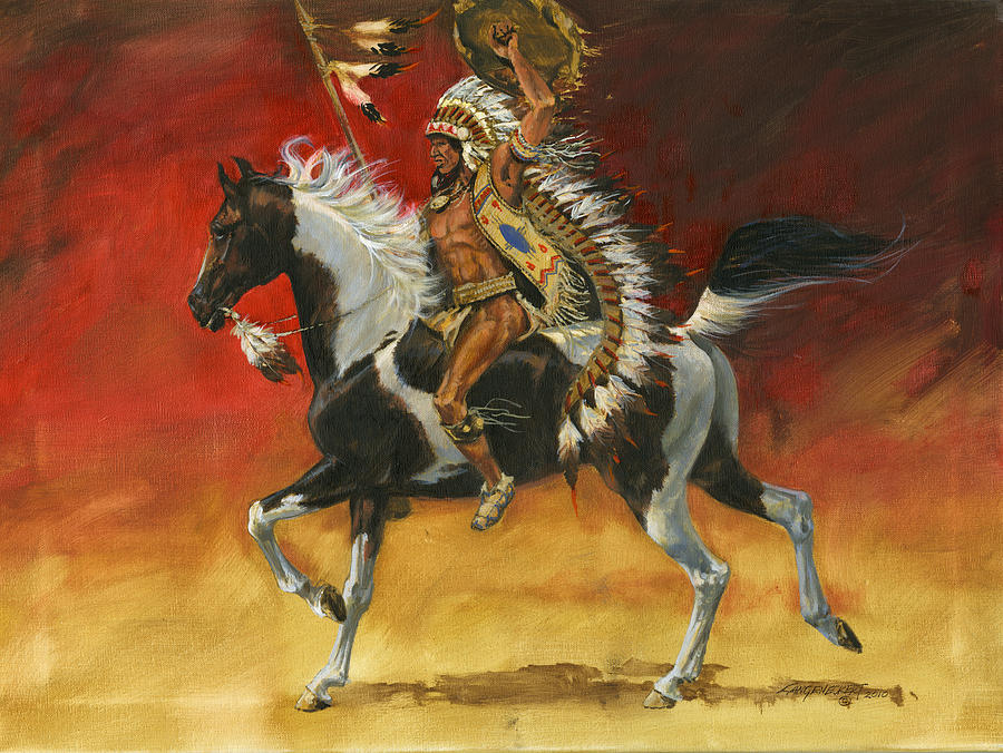 Indian Painting - Indian Warrior Bareback Spotted Horse by Don  Langeneckert