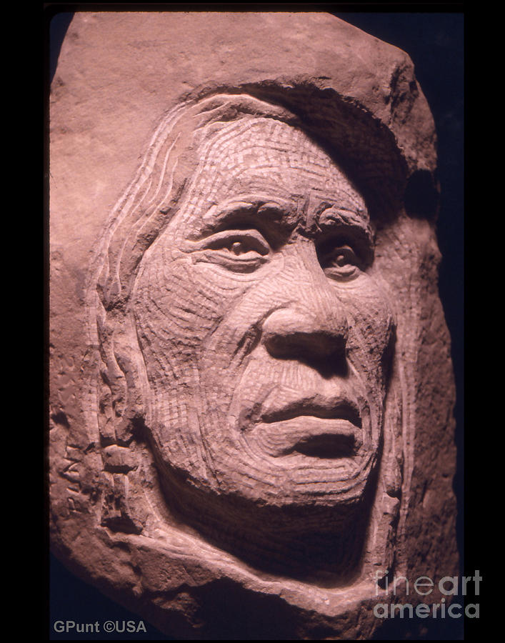 American Indians Sculpture - American-indian-portrait-1 by Gordon Punt