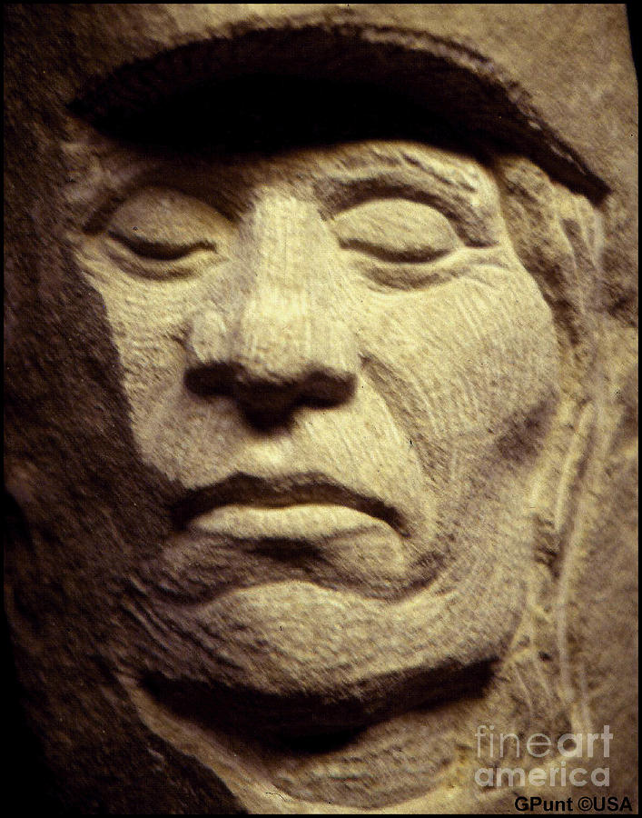 American Indians Sculpture - American-indian-portrait 2 by Gordon Punt