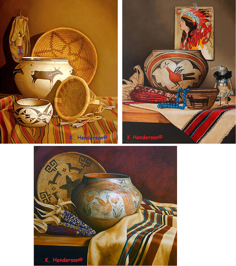 American Indian Painting - American Indian Pottery By K Henderson by K Henderson