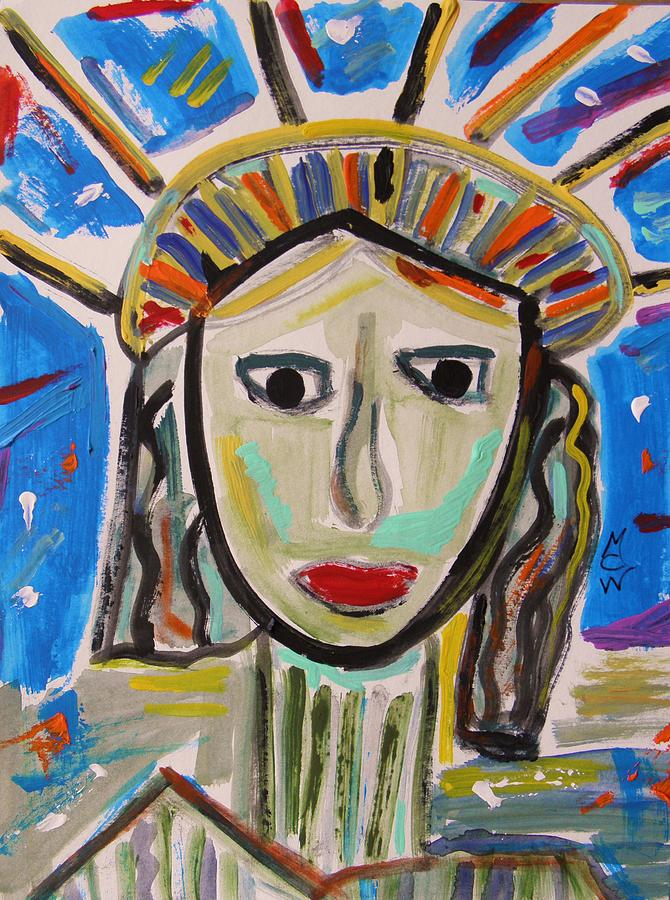 Statue Of Liberty Painting - American Lady by Mary Carol Williams