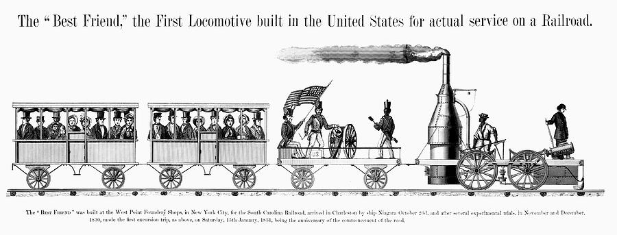 1830 Painting - American Locomotive, 1830 by Granger