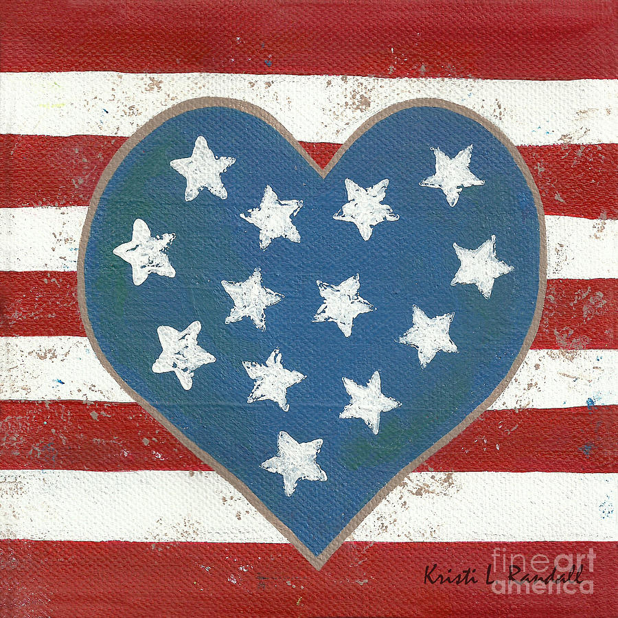 Police Gift Idea Painting - American Love by Kristi L Randall