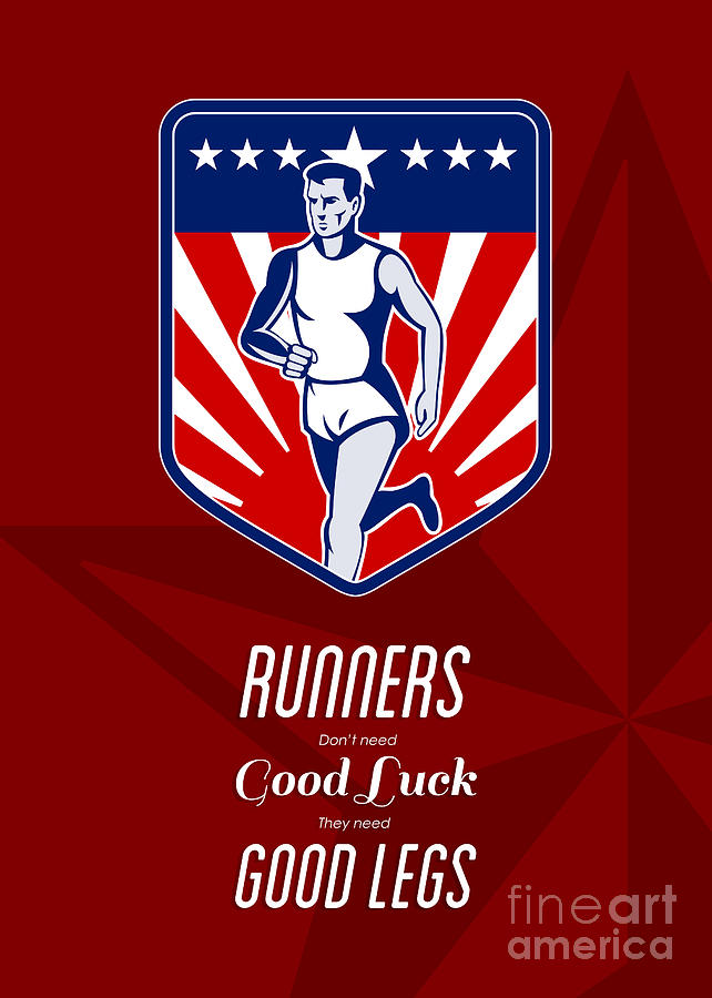 Poster Digital Art - American Marathon Runner Good Legs Poster by Aloysius Patrimonio