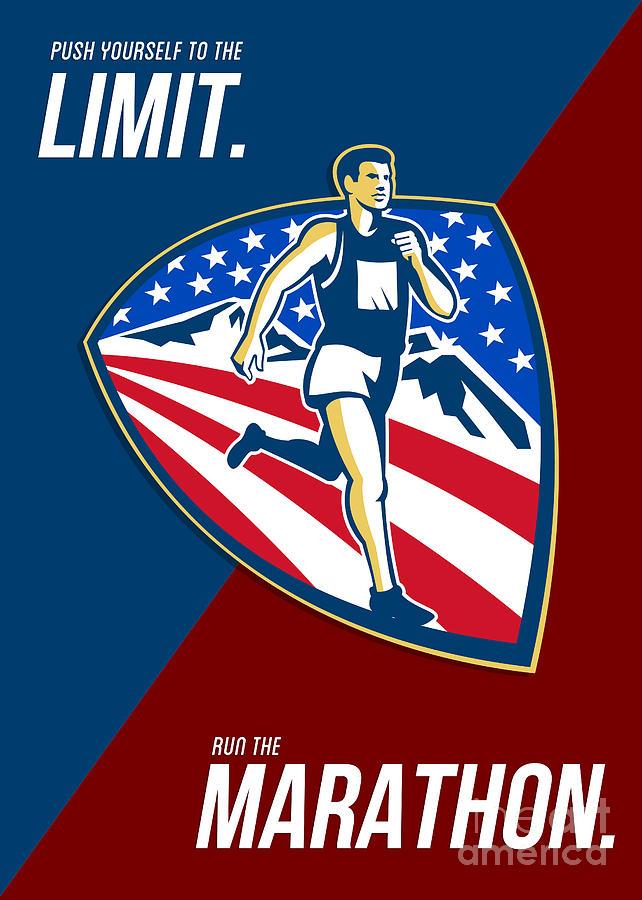 Poster Digital Art - American Marathon Runner Push Limits Retro Poster by Aloysius Patrimonio