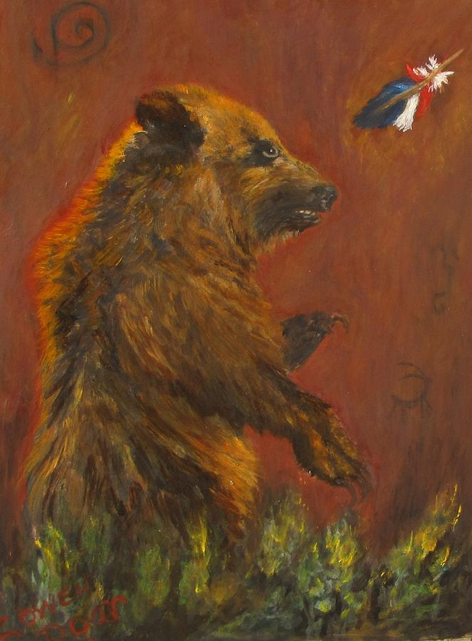Grizzly Bear Painting - American Native by Caroline Owen-Doar