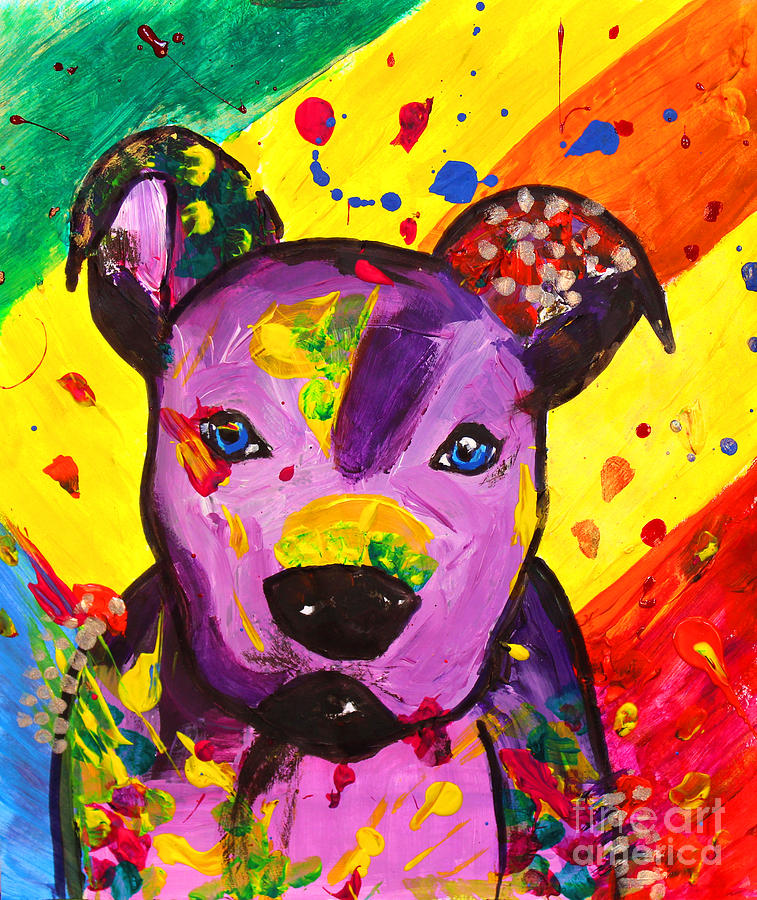 American pitbull terrier dog pop art painting by julia for Dog painting artist