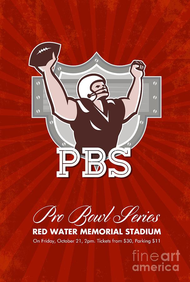 American Football Digital Art - American Pro Football Bowl Retro Poster Art by Aloysius Patrimonio