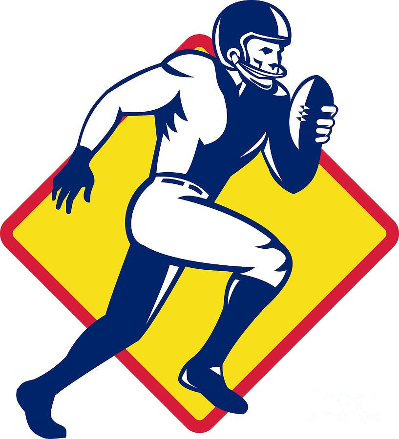 American Digital Art - American Quarterback Football Player Running by Aloysius Patrimonio