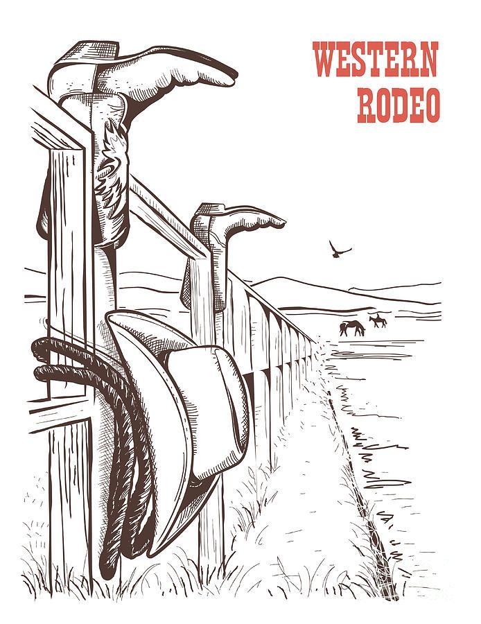 Ranching Digital Art - American Ranch Landscape With Cowboy by Tancha