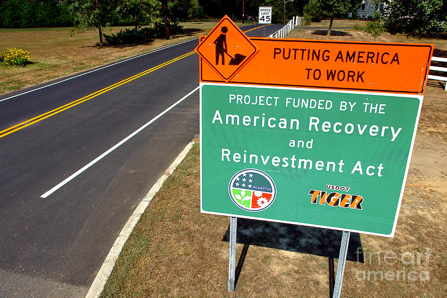 American Photograph - American Recovery And Reinvestment Act Road Sign by Olivier Le Queinec