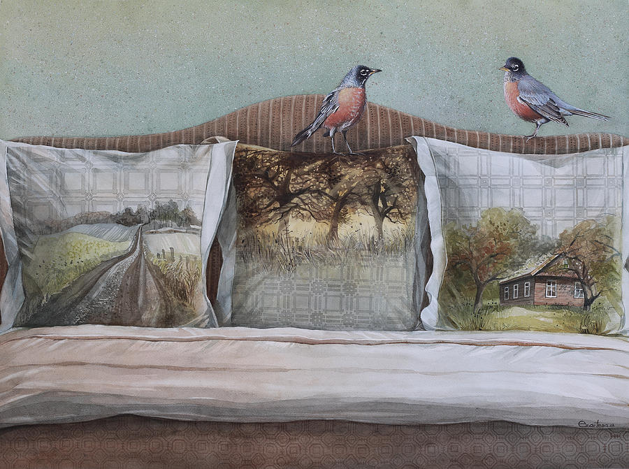 American Painting - American Robins by Ezartesa