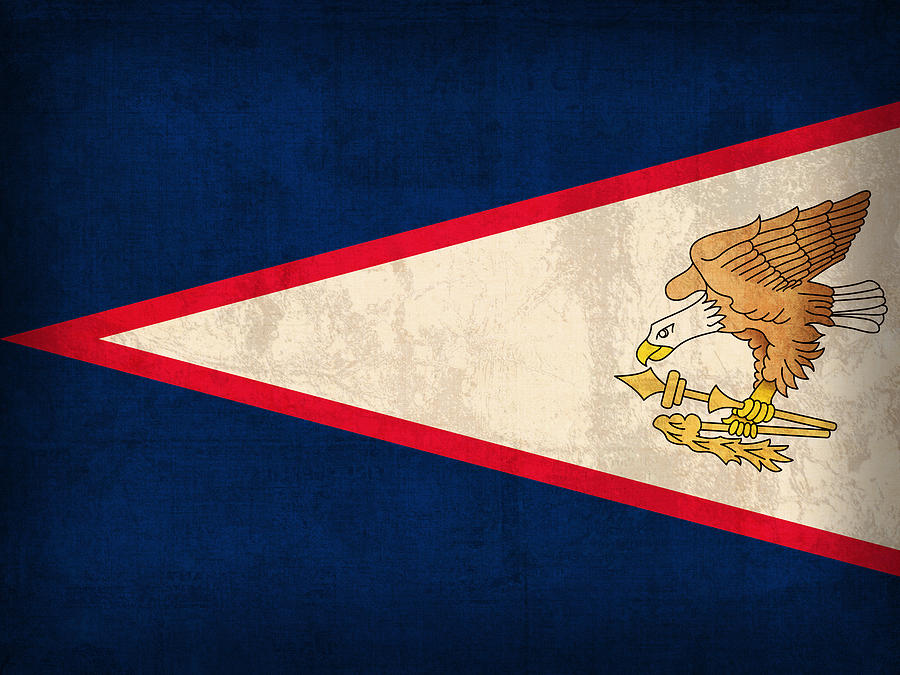 American Samoa Flag Vintage Distressed Finish Mixed Media