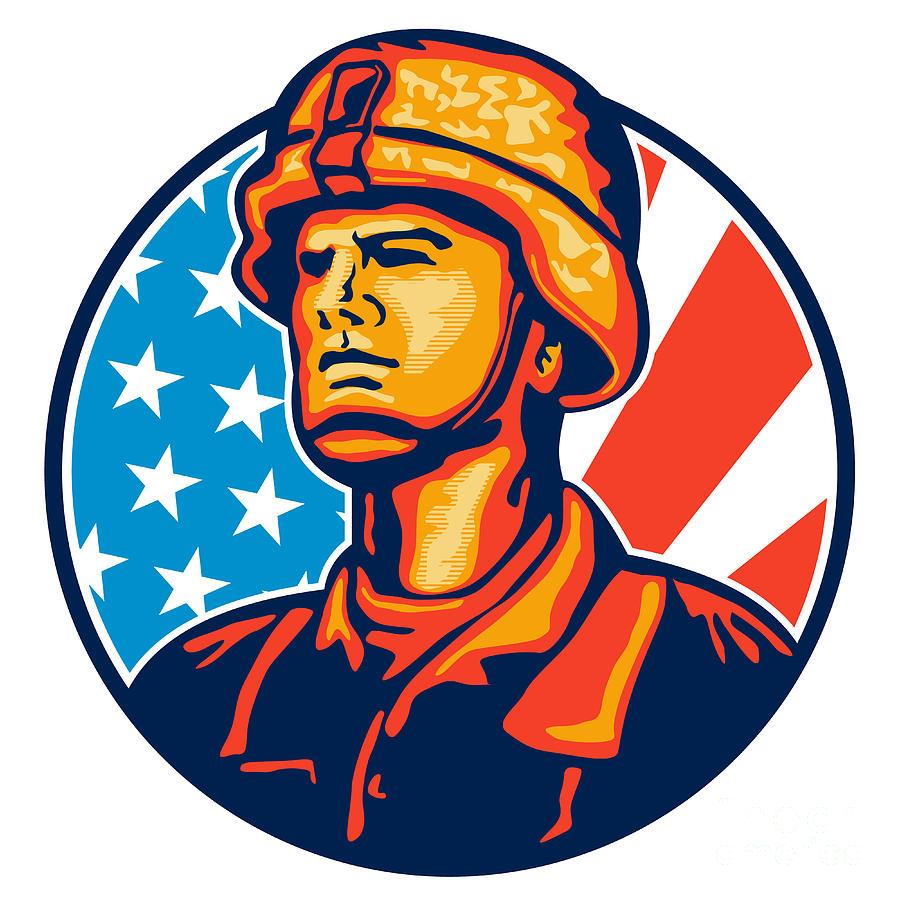 American Serviceman Soldier Flag Retro Digital Art