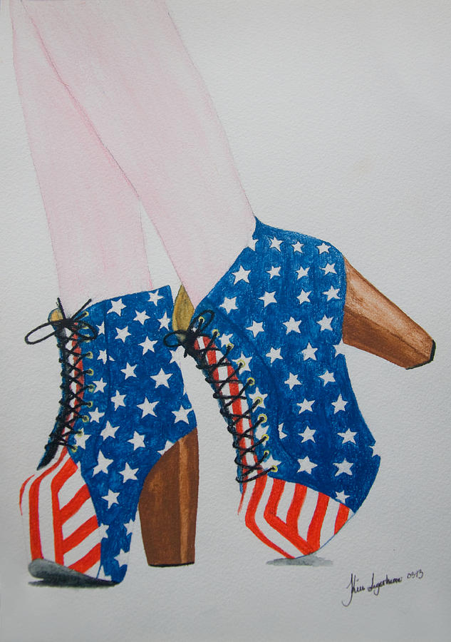 Shoe Painting - American Style by Kim Lagerhem