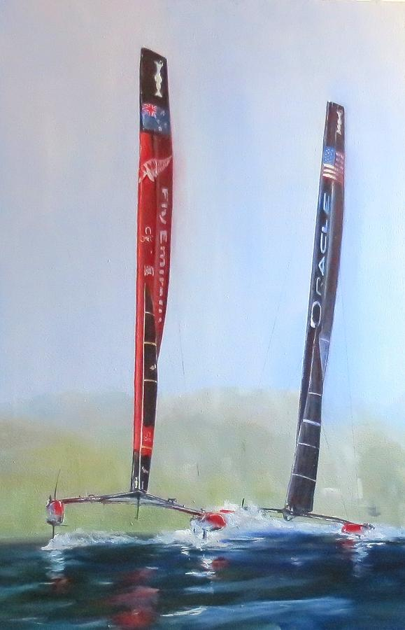 Sail Racing Painting - Americas Cup 2013 Race 19 by Jim Christley
