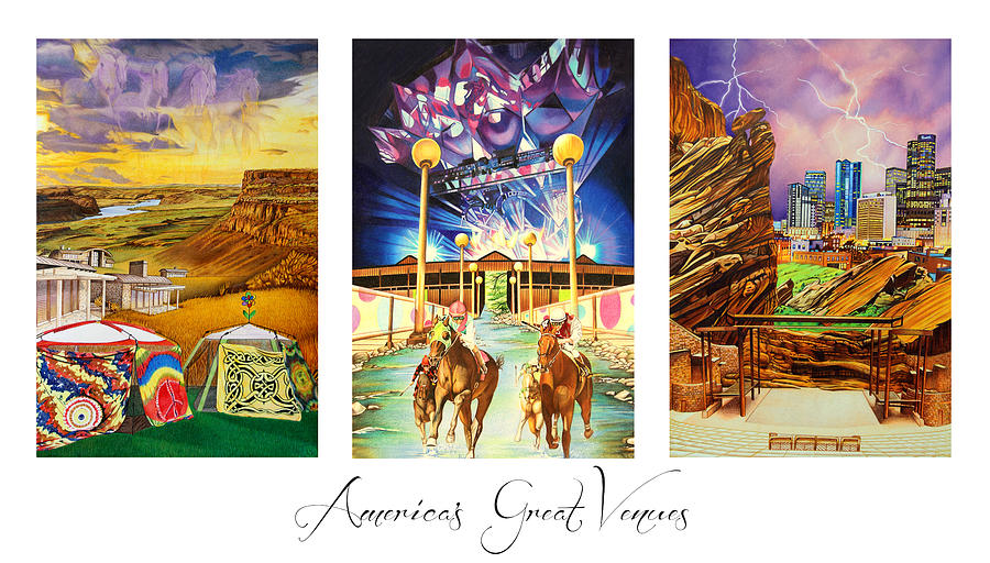 The Gorge Drawing - Americas Great Venues by Joshua Morton