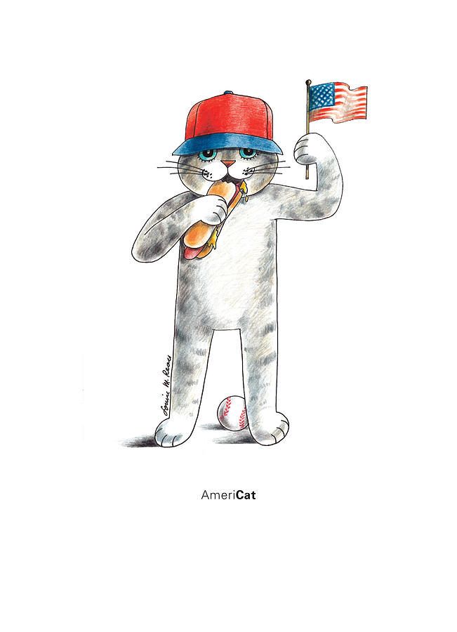 Cat Drawing - Americat by Louise McClain Reeves