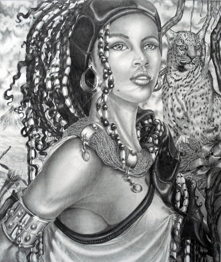 Portrait Drawing - Amerikan Woman by Andy Justiniano