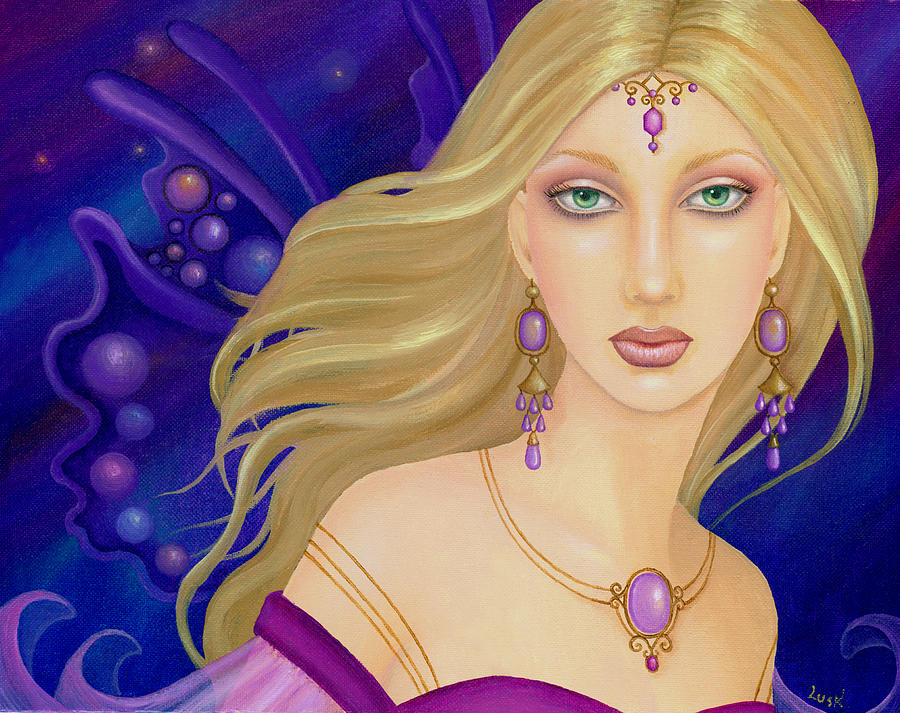 Fairy Painting - Amethyst Fairy by B K Lusk