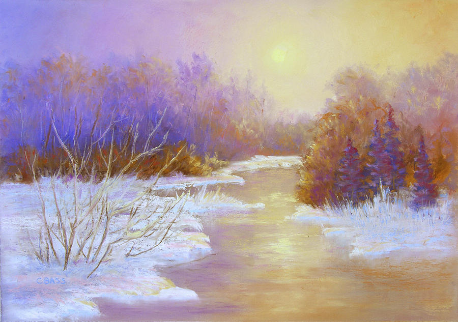 Winter Scene Painting - Amethyst Winter by Christine Bass