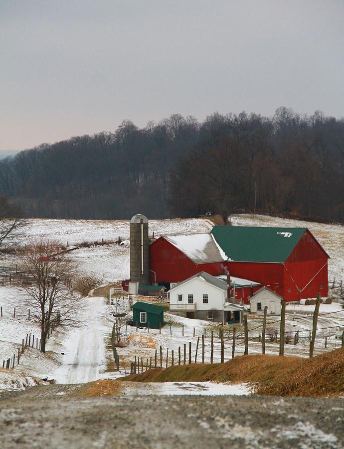 Amish Photograph - Amish Barn In Winter by Dan Sproul