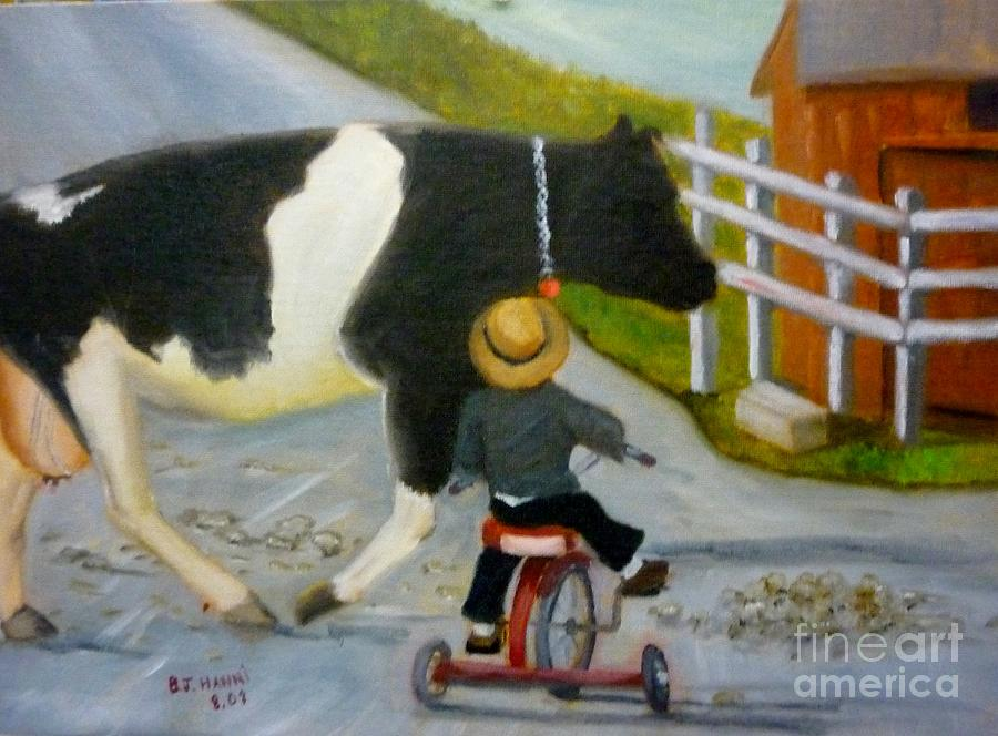 Cow Painting - Amish Cattle Crossing by Beverly Hanni