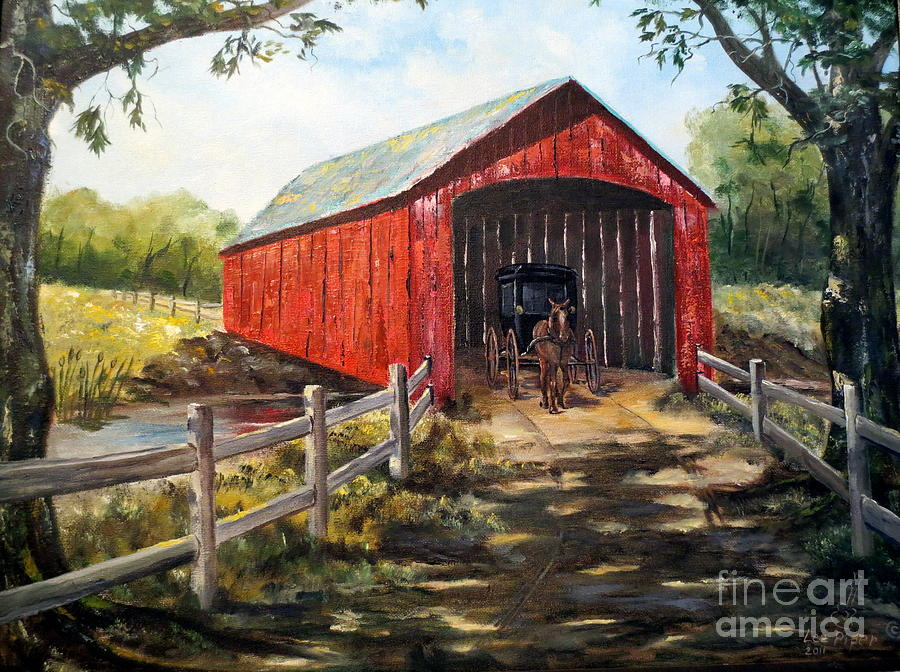 Bridge Painting - Amish Country by Lee Piper