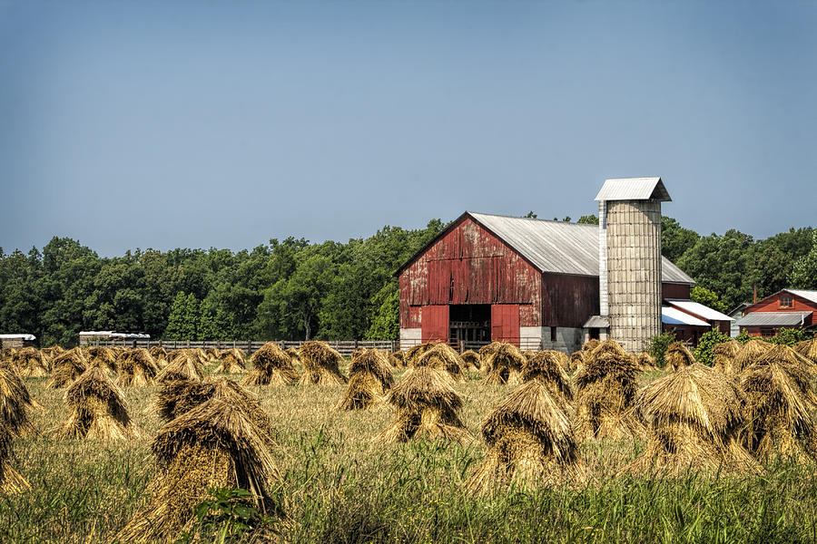 Amish Photograph - Amish Country Wheat Stacks And Barn by Kathy Clark