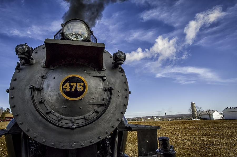 Strasburg Rr Photograph - Amish Farmland And Brilliant Blue Sky Frame #475 Steam Engine - Strasburg Rr   02 by Mark Serfass