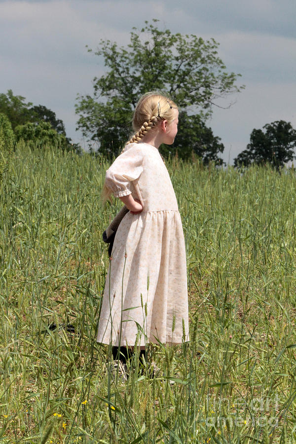 Amish Girl In A Field Photograph
