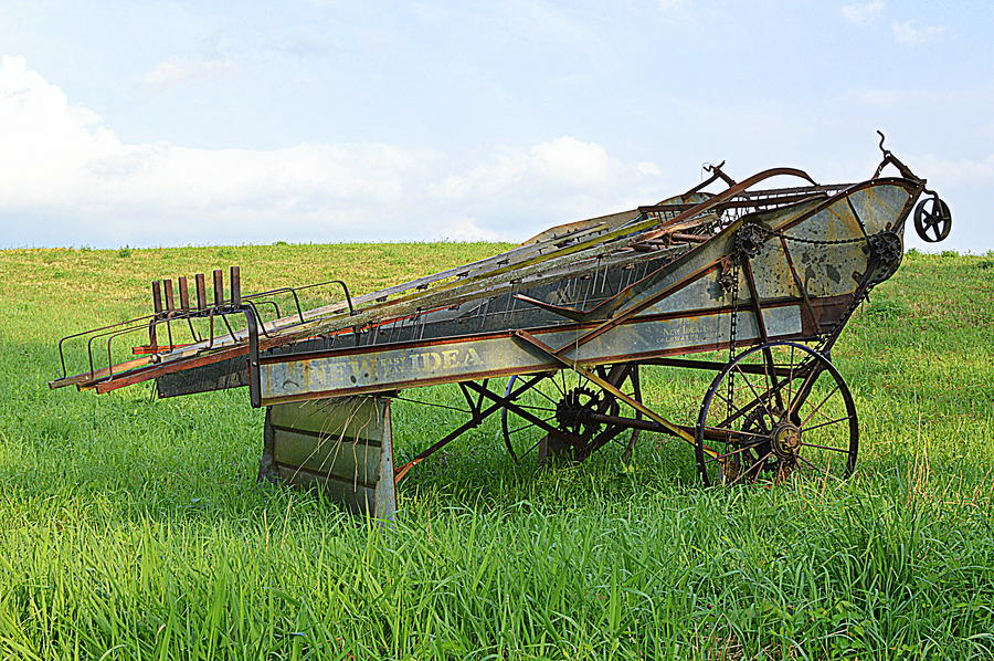 Amish Farm Machinery Photograph - Amish Harvester by Joel E Blyler
