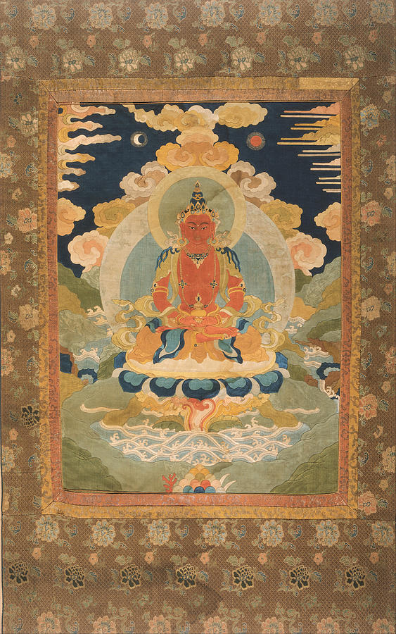 Silk Tapestry - Textile - Amitayus - The Bodhisattva Of Limitless Life by Tilen Hrovatic