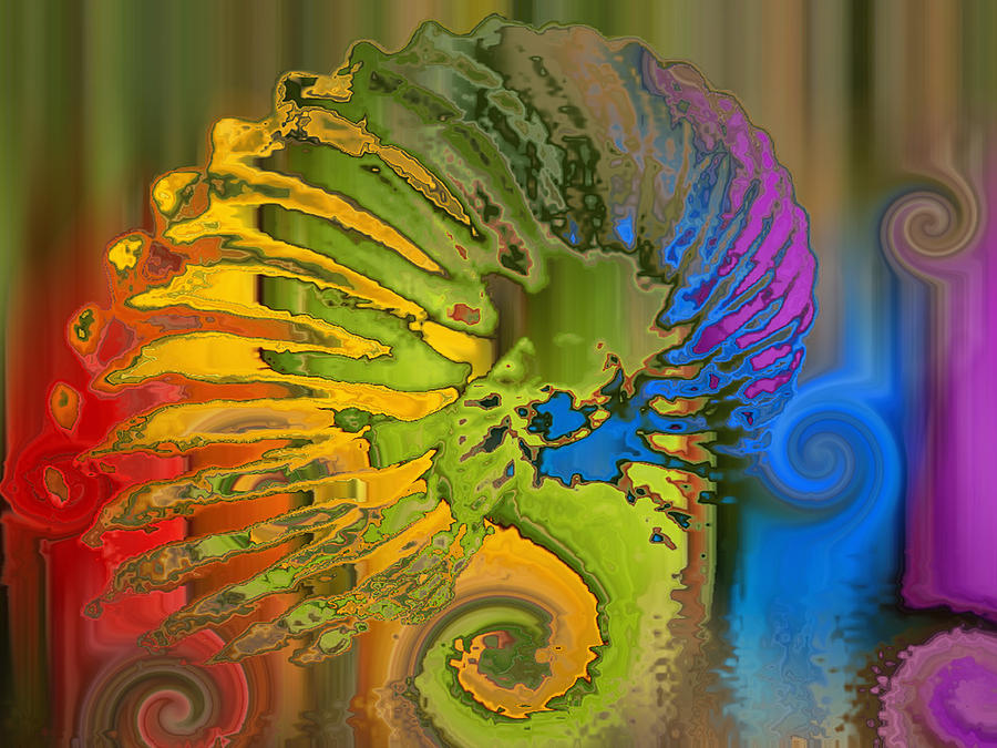 Ammonite Art Print Digital Art - Ammonite 2 by Soumya Bouchachi