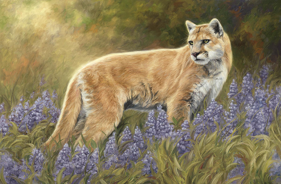 Puma Painting - Among The Flowers by Lucie Bilodeau