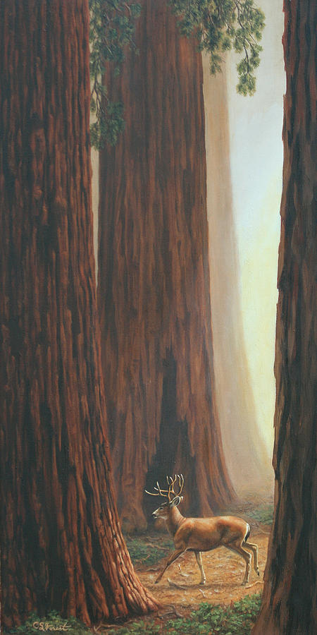 Deer Painting - Sequoia Trees - Among The Giants by Crista Forest