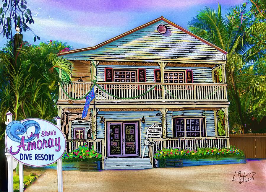 House Painting - Amoray Dive Resort by Gerry Robins