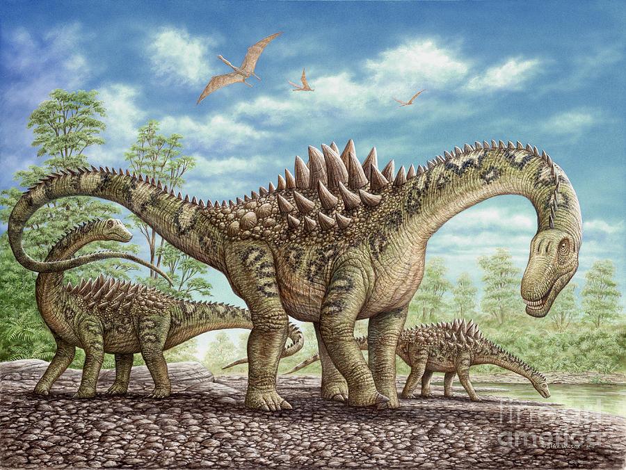 Animal Painting - Ampelosaurus dinosaur by Phil Wilson