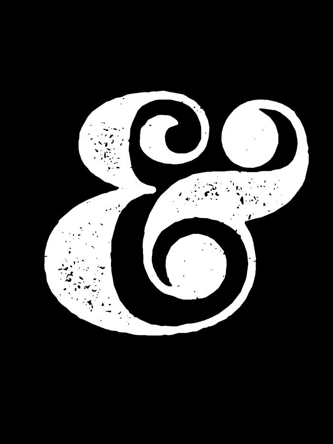 Ampersand Digital Art - Ampersand Poster Black by Naxart Studio