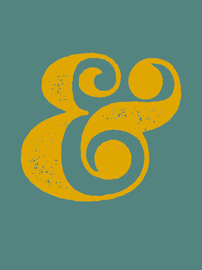 Ampersand Digital Art - Ampersand Poster Blue And Yellow by Naxart Studio
