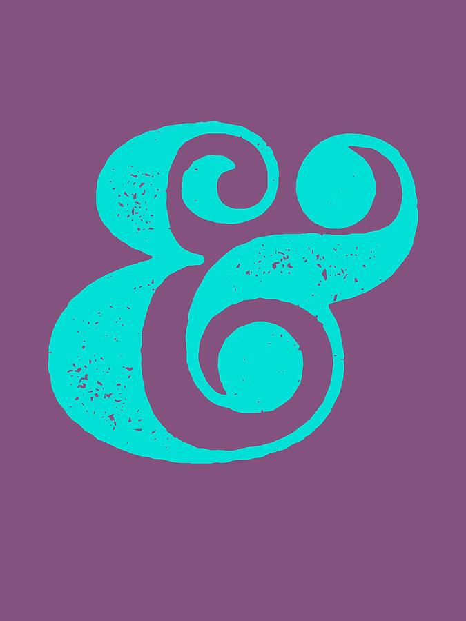 Ampersand Digital Art - Ampersand Poster Purple and Blue by Naxart Studio