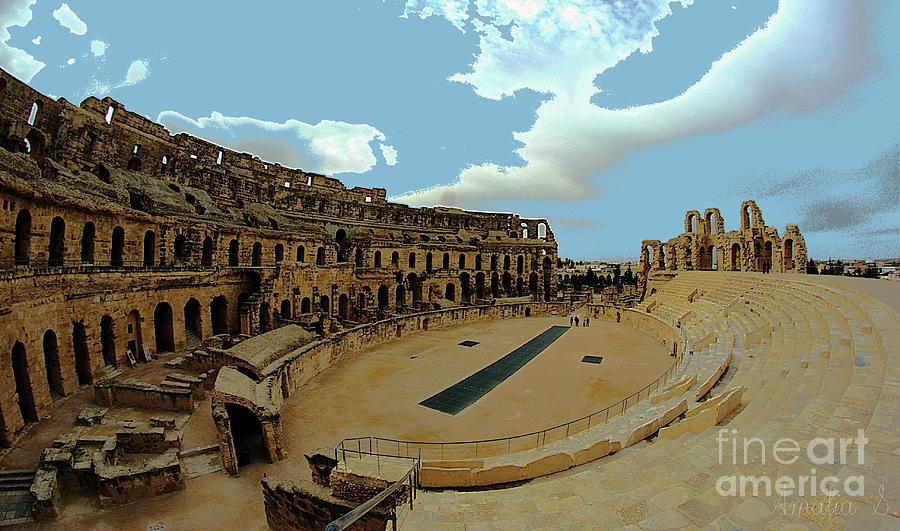 El Jem Photograph - Amphitheatre Of El Jem Tunisia by Amalia Suruceanu
