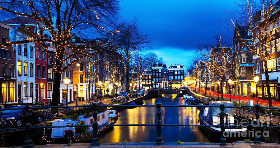 Amsterdam Photograph - Amsterdam At Night V by Lilianna Sokolowska