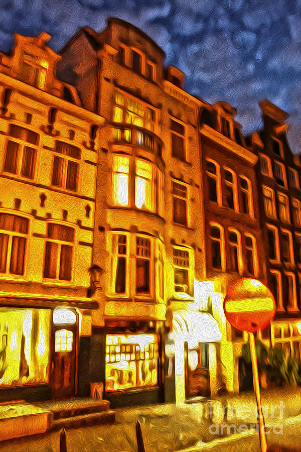Amsterdam Painting - Amsterdam By Night - 01 by Gregory Dyer