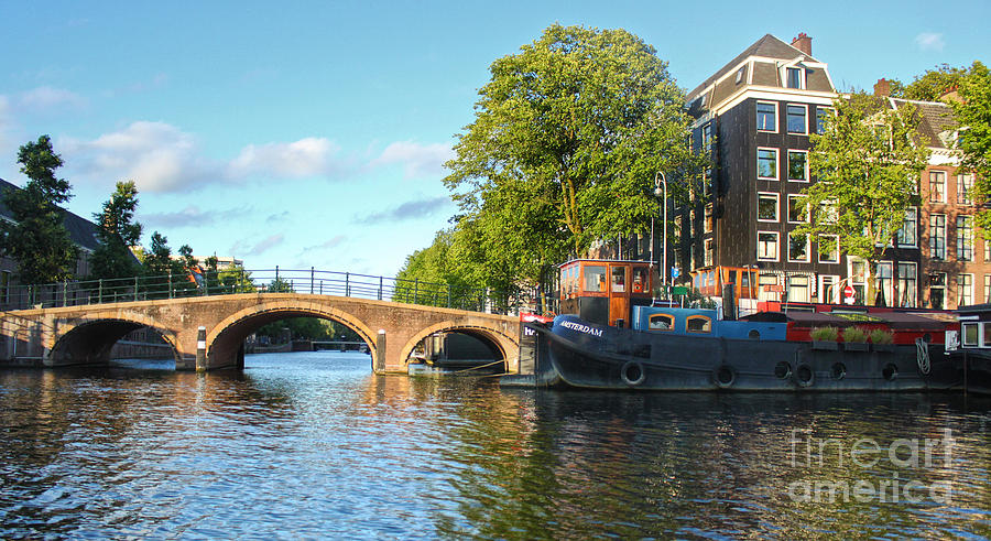 Amsterdam Photograph - Amsterdam Canal Bridge by Gregory Dyer