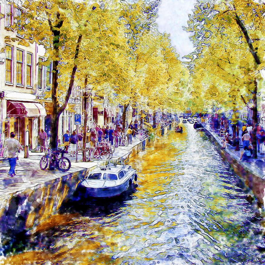 Amsterdam Canal Watercolor Painting by Marian Voicu