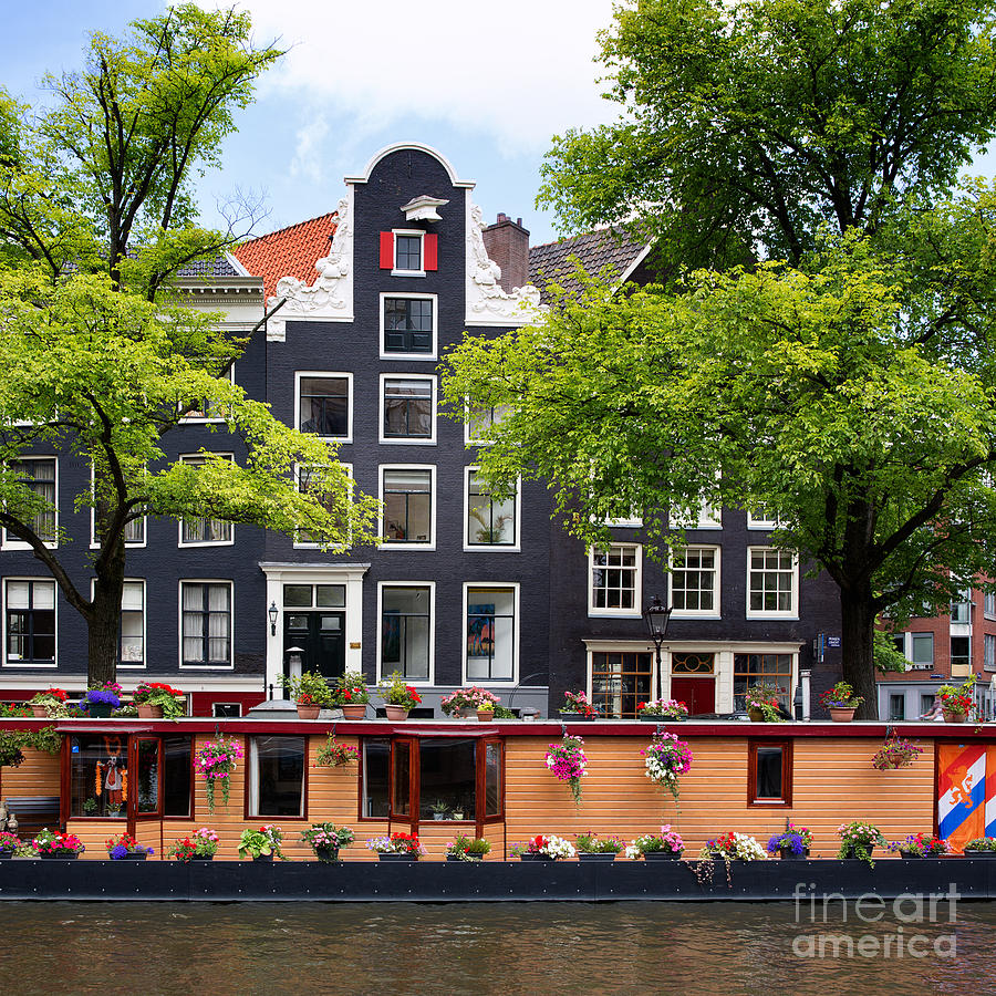 Amsterdam Photograph - Amsterdam Canal With Houseboat by Jane Rix