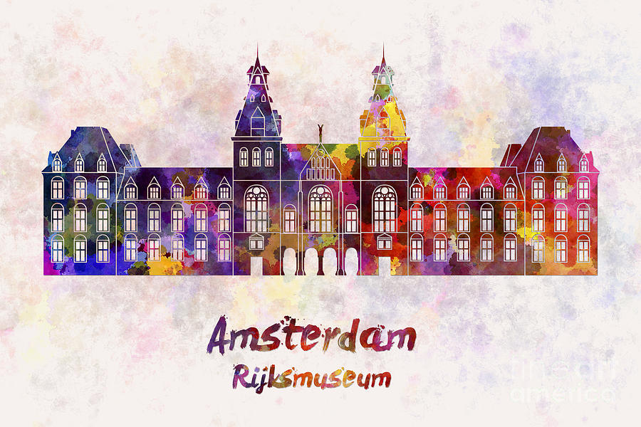 Amsterdam Rijksmuseum Landmark In Watercolor Painting